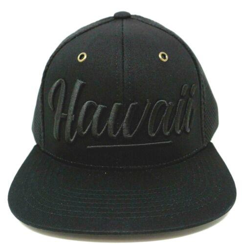 HAWAII Snapback Cap Air Mesh Trucker Style Hat Hawaiian HI Flag Black OSFM NWT