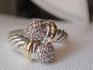 $1400 David Yurman Or 18/k, Ss Diamant Balls Ring.-afficher Le Titre D'origine