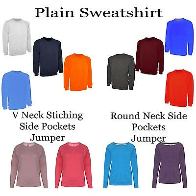 Mens & Woman' Plain Classic Raglan Sweatshirt Sweater Jumper Plain Top Pullover Zu Verkaufen
