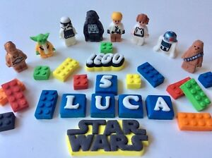 Admirable Edible Fondant Lego Inspired Star Wars Bricks Birthday Cake Funny Birthday Cards Online Elaedamsfinfo