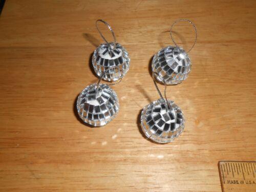 "1pk w//4 Mini 1/"" Disco Ball Silver Color Mirror Tiles w//String NOT Ornament Top"
