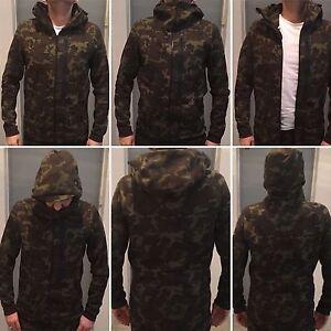 Détails sur Nike Tech Fleece Hoodie Men's CAMO KHAKI SEQUOIA BLACK SIZE S