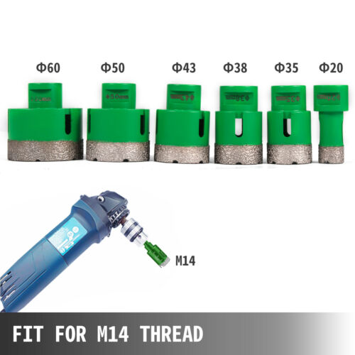 Diamond M14 DRY Holesaw 20//35//38//43//50//60mm Marble Granite Tile Porcelain  KIT