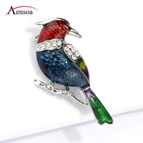 Femmes Fille Cristal Coloré Émail Throstle Thrush BIRD Broche Pins Bijoux Clip