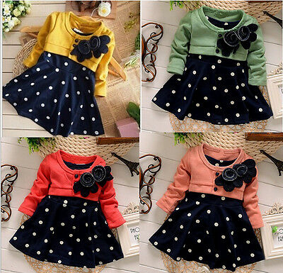 New baby Girls false two party dress baby girls spring autumn clothing 12M-4Y