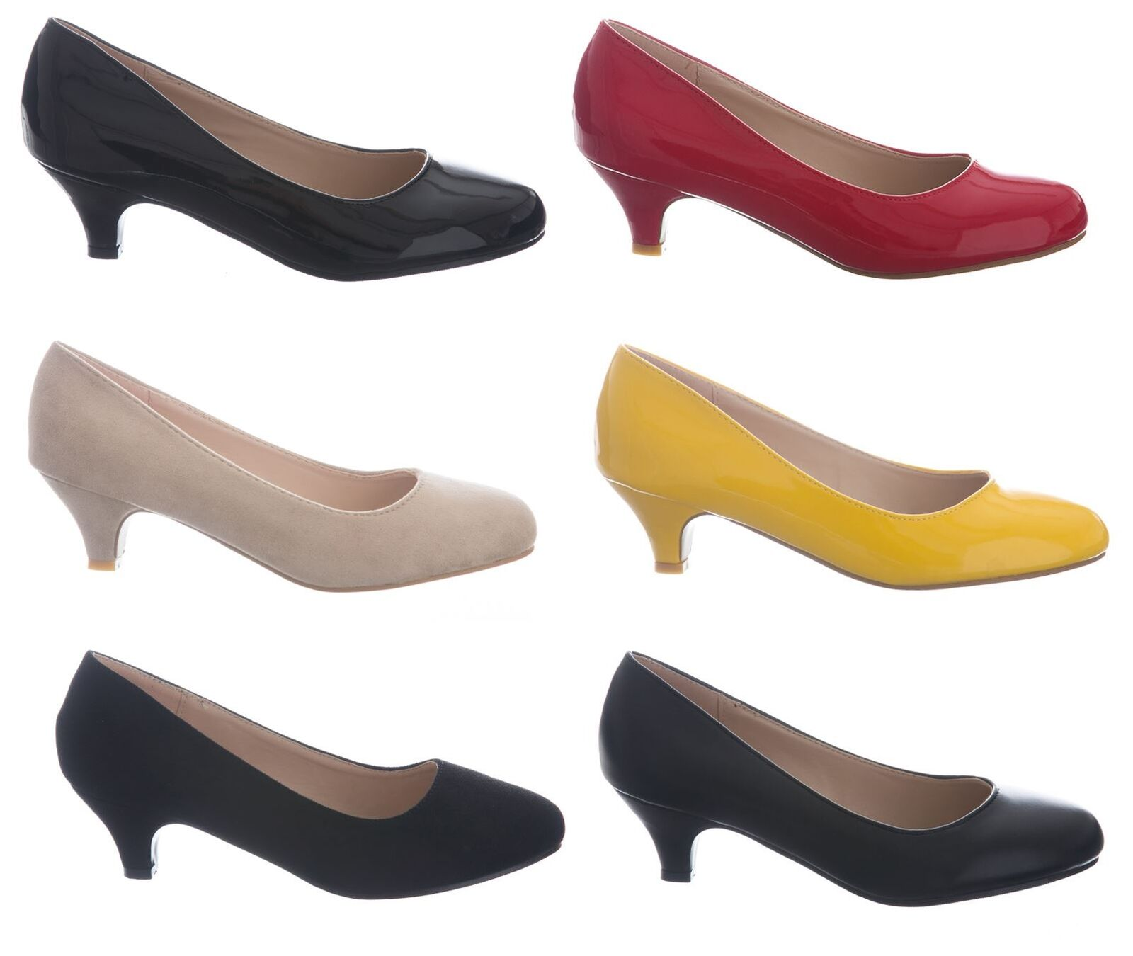 Womens Ladies Formal Slip On Kitten Low Heel Party Office Work Court Shoes UK3-8