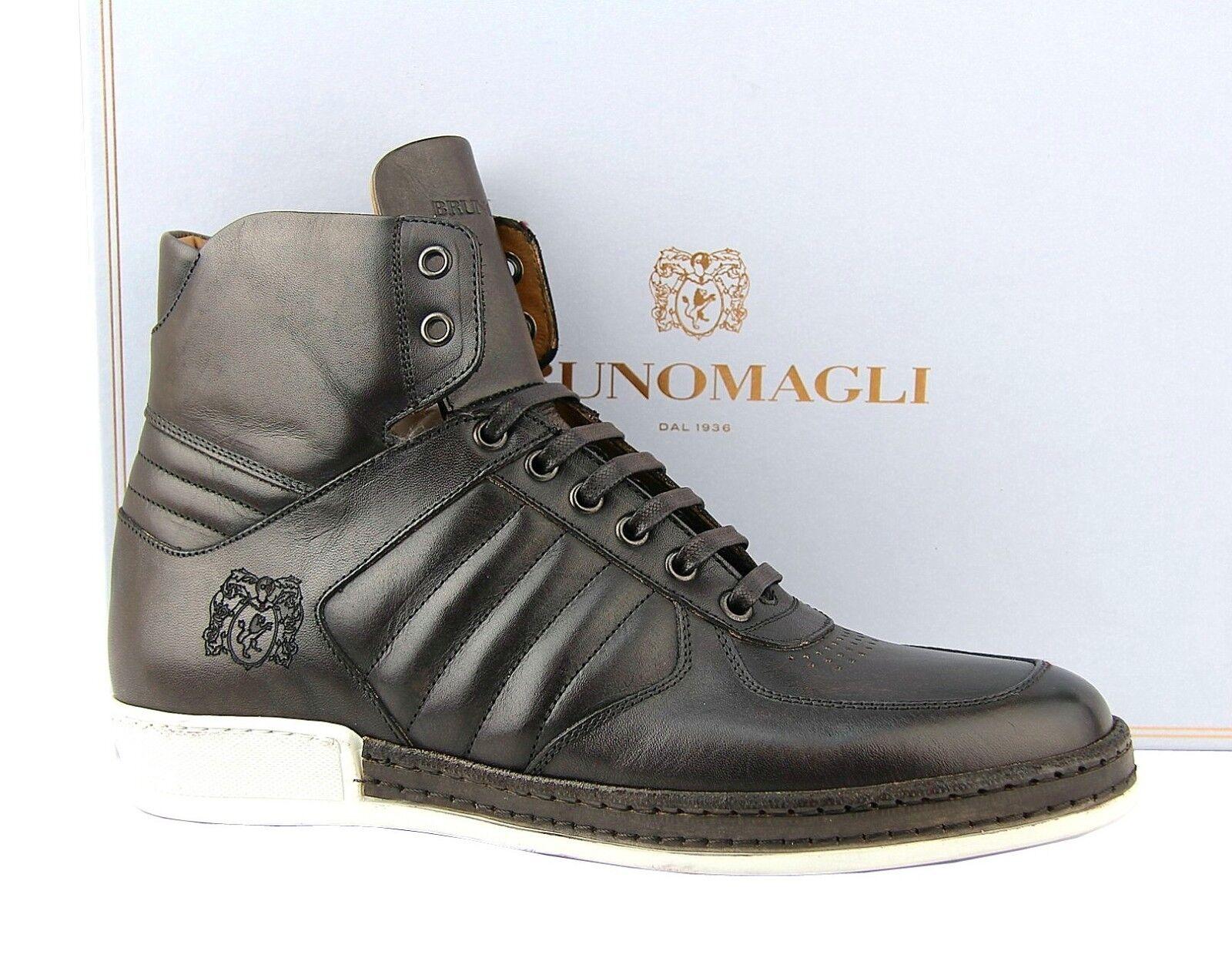 BRUNO MAGLI SIRO HIGH TOP DARK Marronee scarpe scarpe da ginnastica 100% SOFT LEATHER ITALY NEW