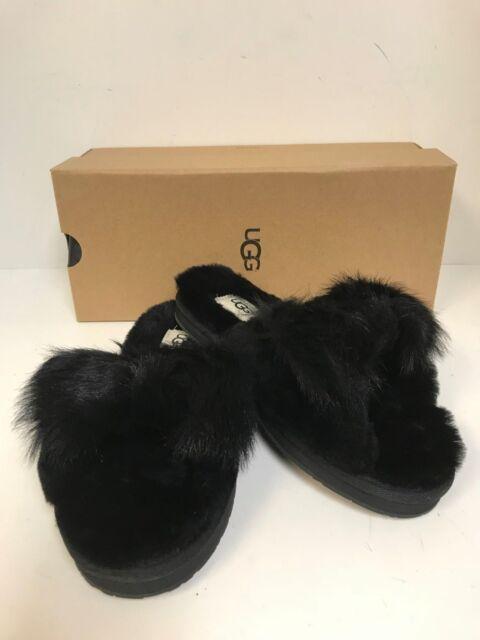 c394172f1009 UGG Women s Mirabelle Slipper Black Sheepskin Slide w  Furry Bow