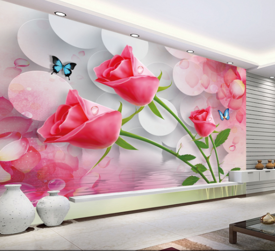3D Rose Branches Butterfly 02 Wall Paper Wall Print Decal Wall AJ WALLPAPER CA