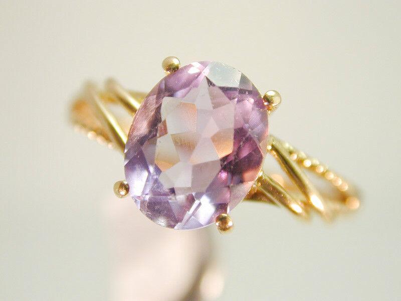 2009 Purple purple Genuine Oval Amethyst & Solid 14k Yellow 100% gold  Size 7