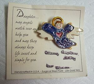1998 Handcrafted ART TO WEAR Flying ANGEL Enamel & Ceramic Pin - MOC