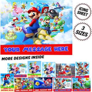 Brilliant Super Mario Birthday Cake Topper Rectangle Ebay Funny Birthday Cards Online Kookostrdamsfinfo