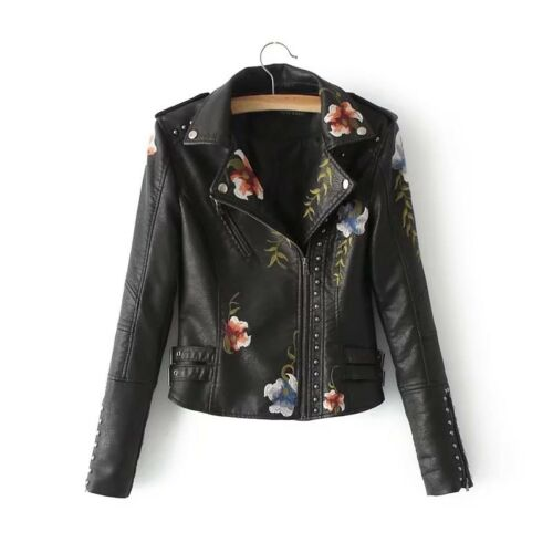 2018 New Women Embroidery Jacket Rivet Motorcycle PU Leather Slim Fit Short Coat