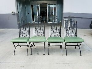 4 Fab 60 S Exaggerated High Back Wrought Iron Patio Chairs W Brass
