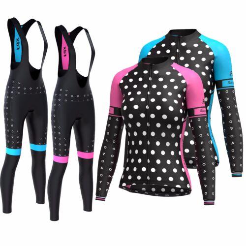 FDX Women/'s Cycling Winter Thermal Biking Jersey Cycling Pants Bib tights set