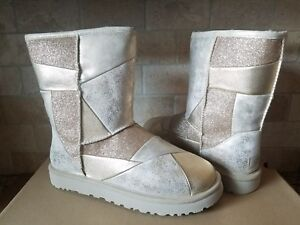 7a946c2c897 Details about UGG Classic Glitter Patchwork Suede Fur Gold Sparkle Short  Boots Size 8 Womens