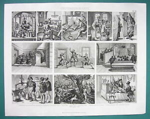 Details about ARCHITECTURE Medieval Trades & Occupations Fencing School -  1870s Superb Print