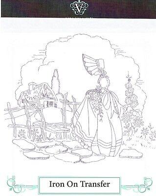 Vintage Embroidery Transfer Sheet Crinoline Lady Panels Deighton/'s Transfer Number K1254