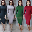 NEW-Women-Turtle-Neck-Long-Sleeve-Plain-Stretch-Bodycon-Evening-Party-Midi-Dress thumbnail 1