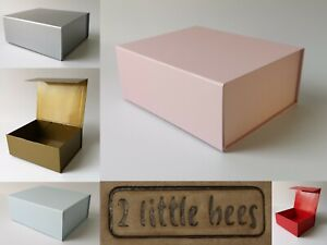Details About Magnetic Gift Boxes Birthday Bridesmaid Silver Gold Red Pink Blue Box Medium Uk