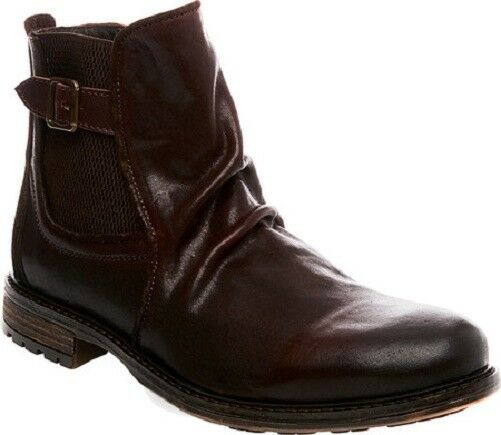NIB Steve Madden Men's Loren Chelsea Leather Boots in Dark Brown