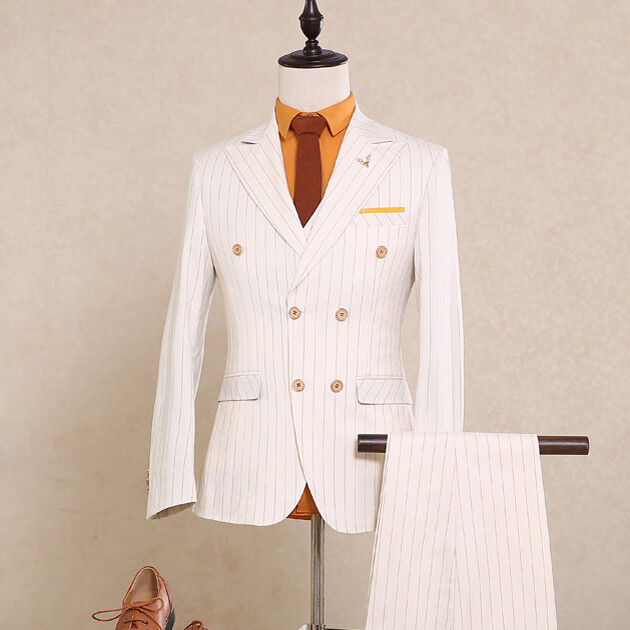 White With gold Striped Men Slim Fit Groom Tuxedos Double Breasted Wedding Suit