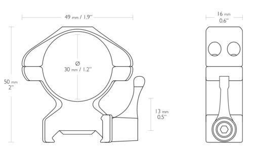 HAWKE 23017 30mm Stahl Ringmontagen Hoch für Weaver Schiene Schnellspannhebel