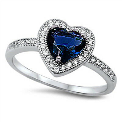 PROMISE LOVE HEART! Sapphie & CZ Heart .925 Sterling Silver Ring Sizes 5-12