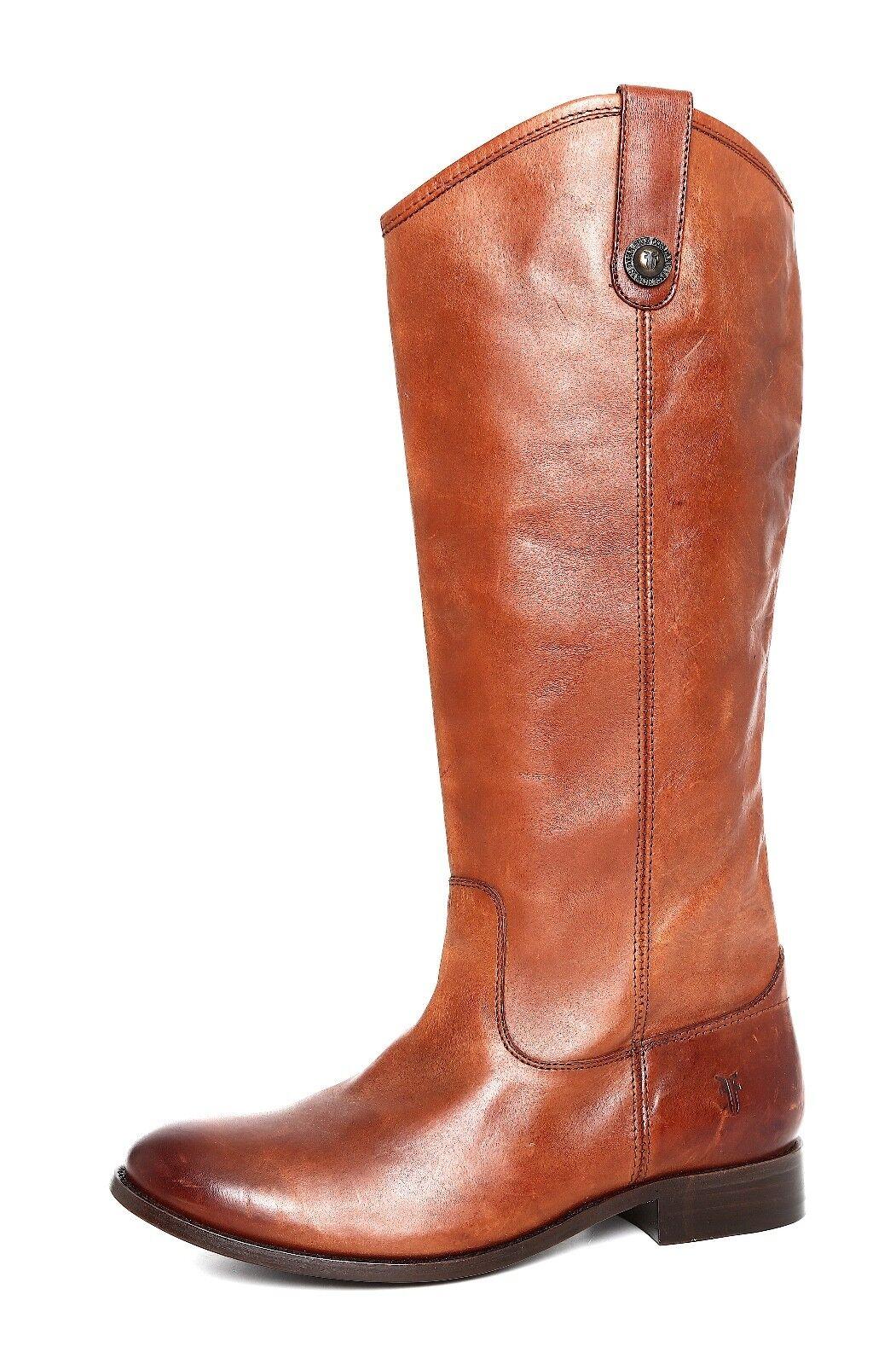 Frye Melissa Button Leather Riding Boot Brown Women Sz 8 B 5875 *