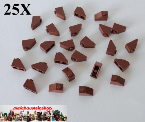 25x lego ® 3040 techo piedras roof slope 1x2 45 ° color marrón-rojizo nuevo