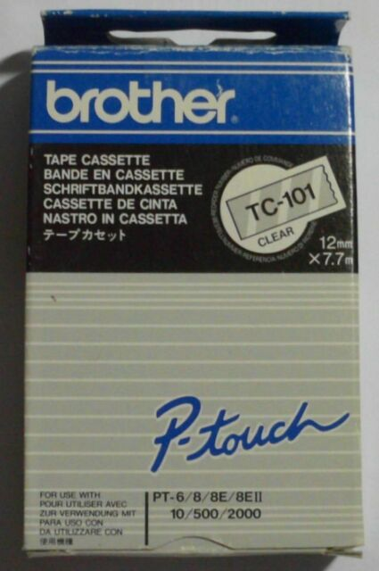 Brother TC-101 P-Touch Tape black clear 12mmx7,7m für P-Touch 2000 3000 OVP A