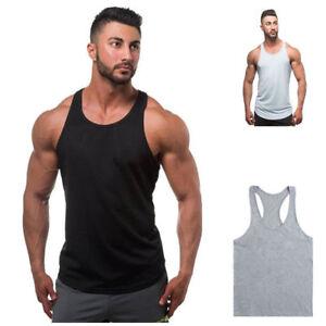 New-Mens-Plain-Muscle-Tank-Singlet-Sleeveless-Top-Bodybuilding-Gym-Vest-T-Shirt
