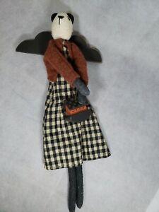 Calico Harvest Primitive Folk Art Panda Doll Holding Noah's Ark Coshocton Ohio