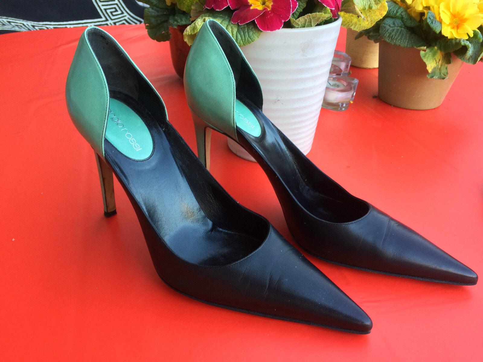 Sergio Rossi cuero tacón alto zapatos zapatos zapatos de salón negro turquesa talla 40  Precio al por mayor y calidad confiable.