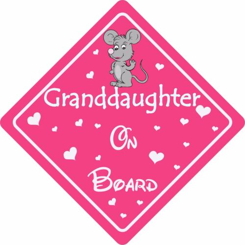 GRANDAUGHTER ON BOARD MOUSE Car Sign Sticker Baby Child Children Safety Kids