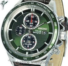 New SEIKO SOLAR CHRONOGRAPH GREEN FACE WITH BROWN LEATHER BUCKLE STRAP SSC501P1