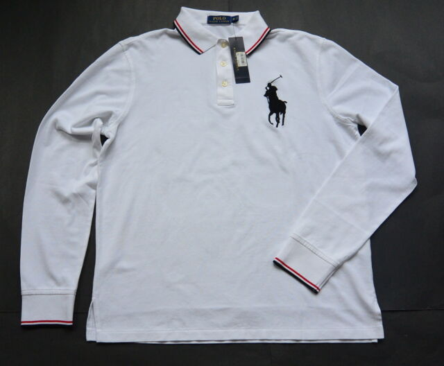 Polo Ralph Lauren Chemise L Blanc Grand Poney Manches Longues Maille de Coton