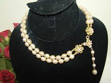 VINTAGE SIGNED MIRIAM HASKELL GLASS BAROQUE PEARL 2 STR NECKLACE FLORAL CLASP