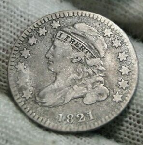 1821 Capped Bust Dime 10 Cents - JR-8  R-2, Nice Coin, Free Shipping  (9922)