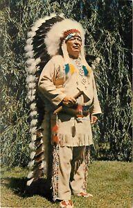 Chrome-Postcard-WI-Chief-Cloud-Winnebago-Indian-Head-Dress-Wisconsin-Dells-F585