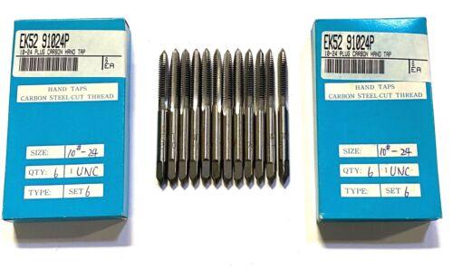 10-24UNC Carbon Hand Tap Plug Taps 3 Flute 12 Pack