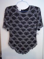 Laurence Kazar Black/white Sequin Beaded Evening Silk Top Sz L Lord & Taylor