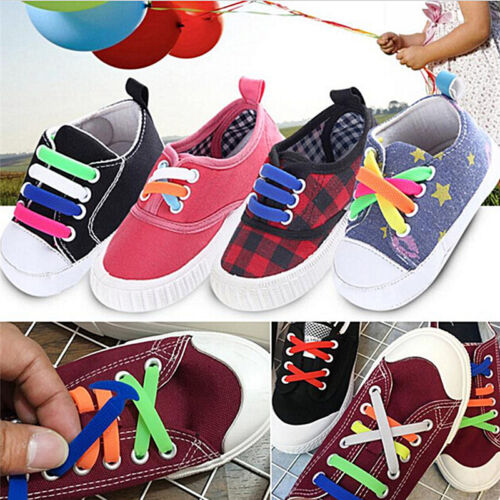 16X No Tie Shoelaces Elastic Silicons Shoe Laces For Walking Running Sneaker Pip