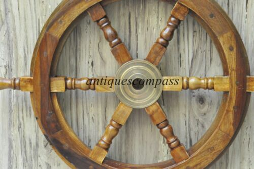"18/""Nautical Wooden Ship Steering Wheel Pirate Decor Wood Brass Fishing Wall gIFT"