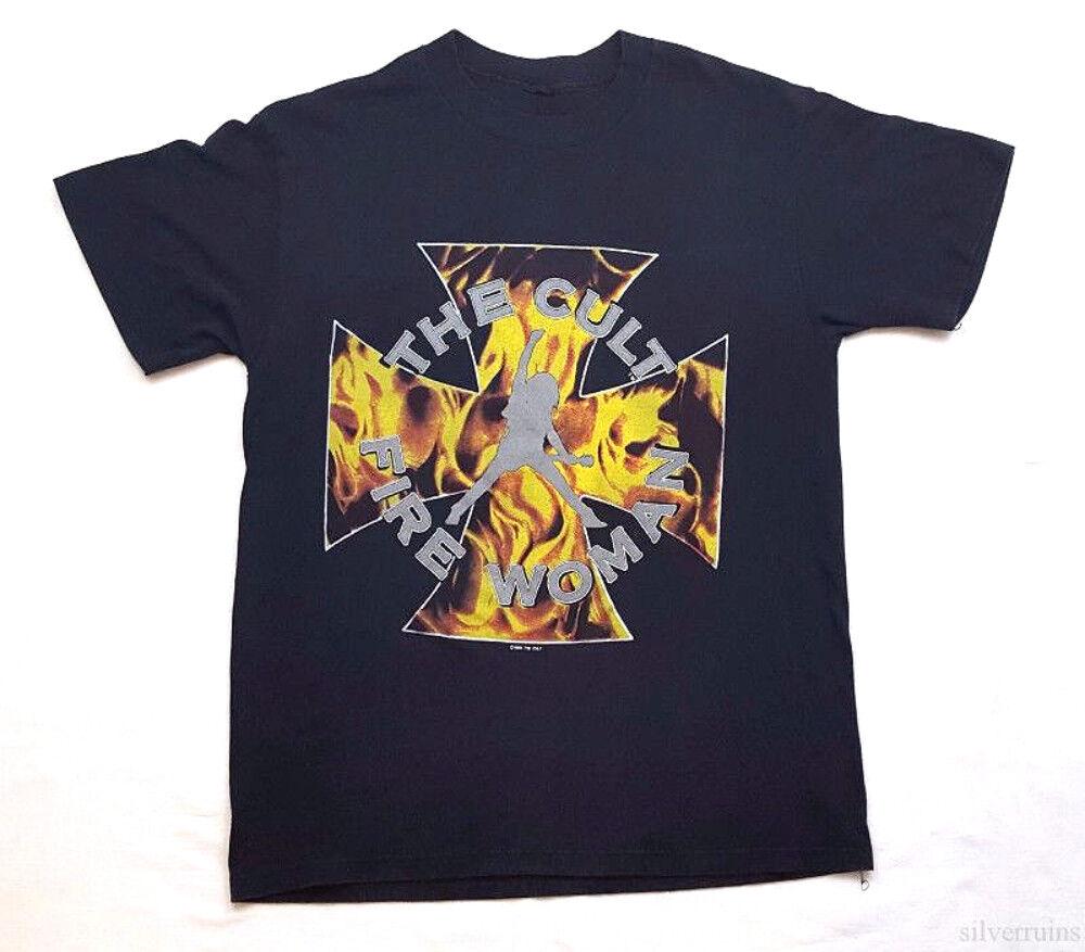 THE CULT Vintage T Shirt 80's CONCERT 1989 Sonic Temple TOUR Fire Damens BAND