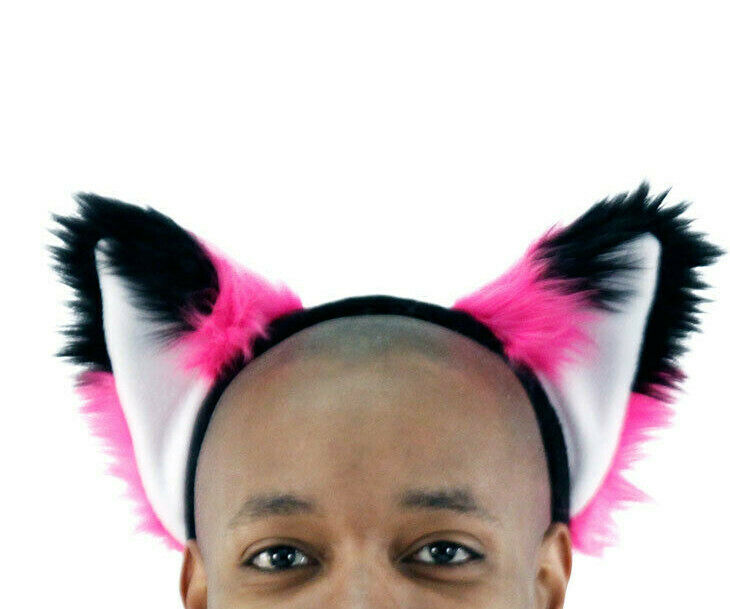GREEN /& BLACK furry kitty cat EAR wolf NECOMIMI COVERS ONLY cosplay anime
