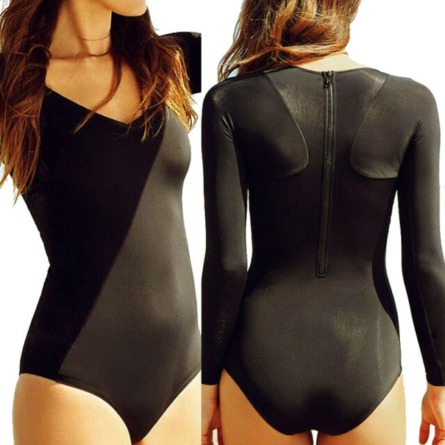 Women Black Long Sleeve Swimwear Back Zip One Piece Bikini Swimsuit Bathing Suit