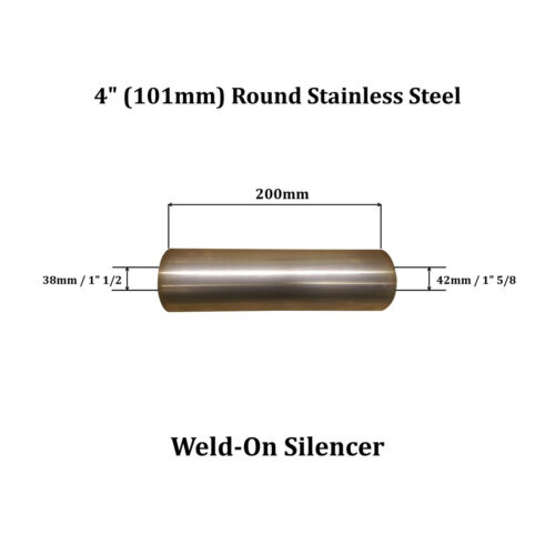 """42mm Out 4/"""" x 8/"""" Weld On Stainless Steel Silencer Exhaust Box Body 38mm In"""