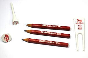 Coca Cola Coke Golf Set 6 Teile Golfball Marker Golftees Bleistifte USA 1970
