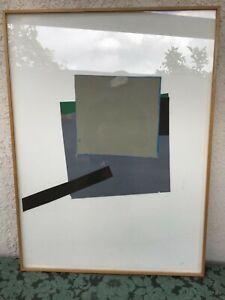 Mid-Century-Minimalist-Art-Collage-Framed-Painting